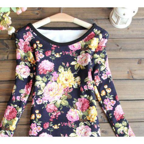 تي شيرت قطن بناتي شتوي Floral Tops Fashion Cotton Tshirt