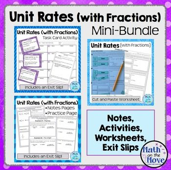 Unit Rates With Fractions Mini Bundle Notes Worksheets Activities Unit Rate Fractions Worksheets Task Card Activities Worksheets on unit rates