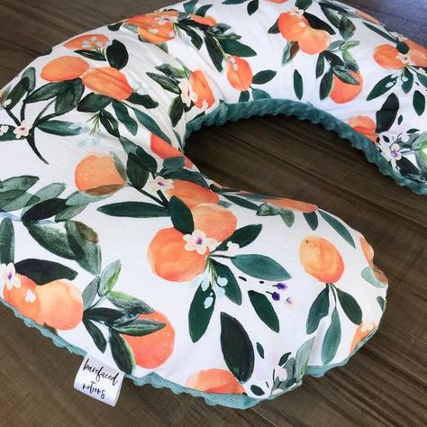 This handmade nursing pillow cover is made to order! This beautiful watercolor clementine pattern on 100% poplin cotton paired with agate green minky on bottom would make the perfect nursing pillow for any baby and mama! If you are interested in a different minky color, sent me a message to ask about options at no additional cost!Please note, our processing time is currently at 3-4 WEEKS, meaning your order will be set to ship no later than FOUR weeks from your order date. Rush shipping may be a Nursing Pillow, Baby Boppy Pillow, Boppy Cover, Twin Nurseries, Neutral Nurseries, Nursery Neutral, Lovey Blanket, Elephant Nursery, Boho Baby