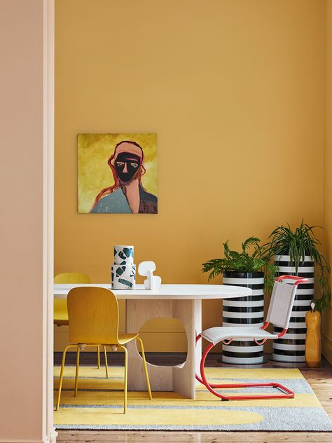 Dulux Colour Forecast From the Identity palette. Wall (rear) in Dulux Gold… Dulux Colour Forecast From the Identity palette. Wall (rear) in Dulux Golden Sand, wall (front) in Apricot Fool.