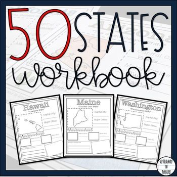 The 50 States Research Workbook Social Studies Projects, 4th Grade Social Studies, Teaching Social Studies, Teaching Us History, Social Studies Notebook, Social Studies Activities, Geography Lessons, Teaching Geography, Bibliography Template