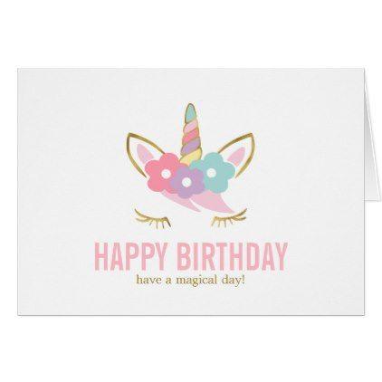 Cute Unicorn Happy Birthday Thank You Card Zazzle Com Cool Birthday Cards Birthday Thank You Cards Birthday Card Sayings