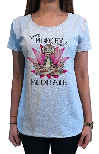 méditer-yoga zen fleur de lotus TS1384 T-shirt femme ne pas Singe autour