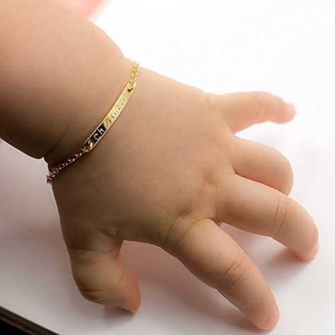Baby Name Bar id Bracelet Gold Plated Dainty Hand Stamp Artisan Bracelet Personalized Your Baby Name Customized New Born to Children Birthday Great Gift - King City Treasures