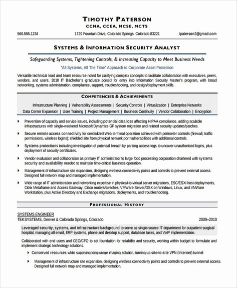 20 Cyber Security Analyst Resume In 2020 Security Resume Job