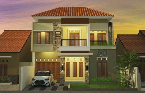 desain dinding rumah: desain muka rumah lantai 2