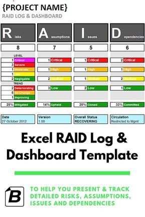 Excel Raid Log And Dashboard Template Project Management