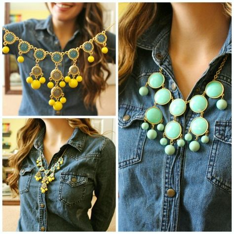 Denim shirt and statement necklace