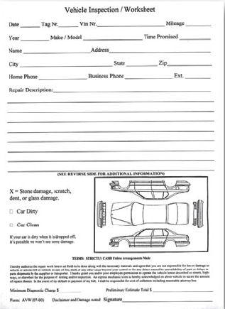 Vehicle Damage Inspection Sheets work? Pinterest - vehicle inspection form