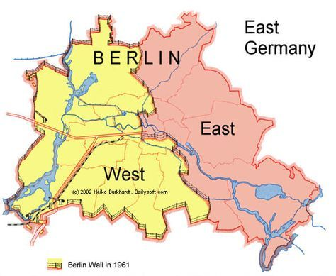 Map of Berlin wall - West Berlin was an exclave of West Germany. It belonged to West Germany but was geographically separated from the main part by the Soviet controlled surrounding East Germany. Basically, an island.