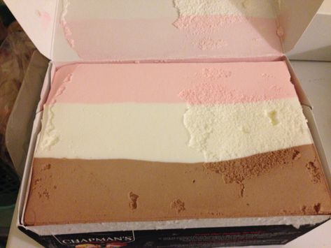 Here is real retro food: Neapolitan ice cream. In a brick!