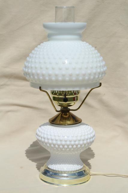 Vintage Hobnail Milk Glass Student Lamp W Light Up Base Fenton