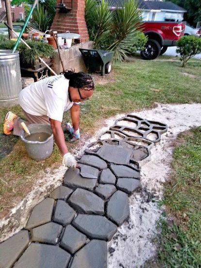 Diy Cobblestone Path Backyard Design Backyard Backyard Landscaping