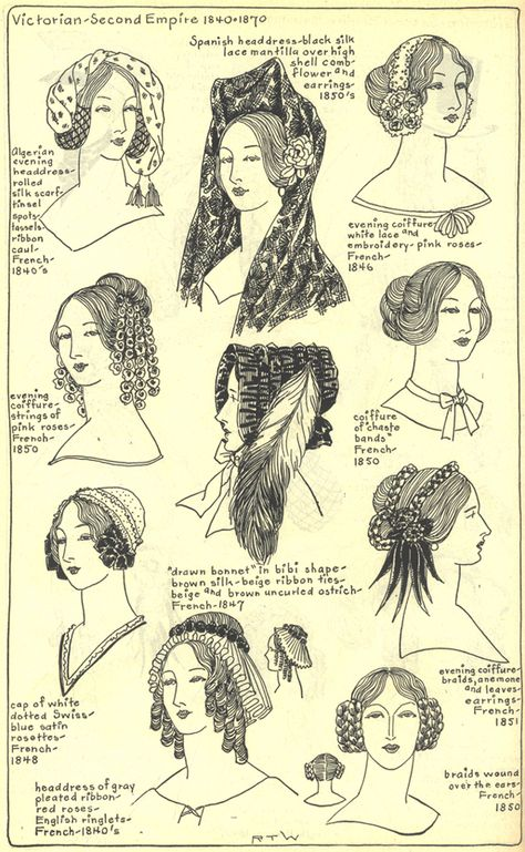 Hats and hair, 1840's. Village Hat Shop Gallery, Chapter 15 - Victorian and Second Empire 1840-1870.