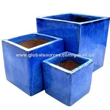Glazed Terrazzo Cube Planter Set 3 Green Glazed Planters Large Blue Glazed Pot Outdoor Garden Pot Terrazzo Planters Pool Planters