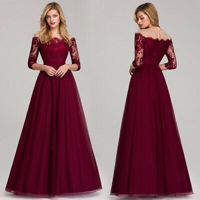 Ever-pretty US Formal Lace Burgundy Prom Gown 3//4 Sleeve Celebrity Party Dresses
