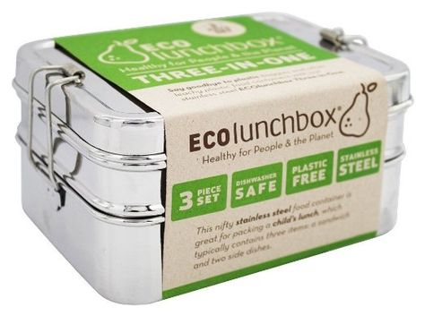 ECOlunchbox Three-in-One Stainless Steel Food Container Set | Lunch ...