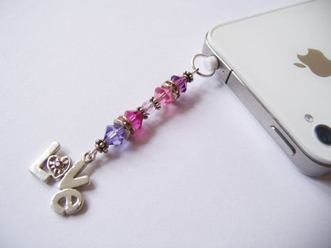 Mobile Phone iPad  Tablet Handbag charm Blue And Pink Glass Bead