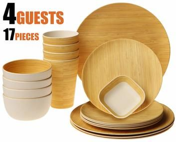 Earth S Dreams Reusable Bamboo Dinnerware Set For 4 Guest With Images Dinnerware Set Tableware Set Dinnerware