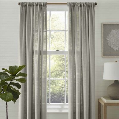 Tommy Bahama Home Linen Breeze Solid Color Semi Sheer Curtain