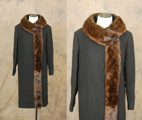 Gray vintage 50s Wool Coat  1950s Mink Collar Coat  Betty by jessamity, $205.00 LOVE IT!