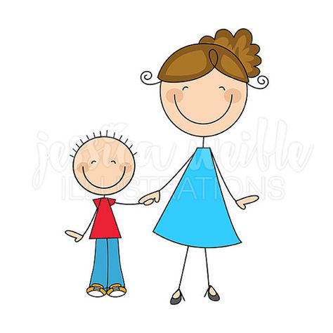 Mom and Son Stick Figures Cute Digital Clipart - Commercial Use OK - Woman and Child Graphics, Stick Figure Clip art