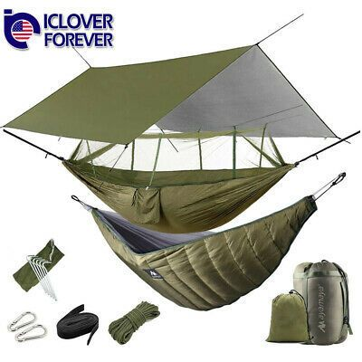 Camping Hammock With Mosquito Net Under Quilt Blanket Rainfly Cover Tarp Fall In 2020 Hammock With Mosquito Net Hammock Camping Hammock