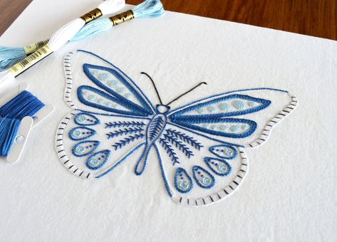 Anatomical Butterfly hand embroidery pattern, a modern embroidery pattern PDF