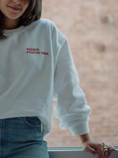 Radiate Positive Vibes Embroidered Sweatshirt