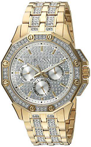 Bulova Men's 98C126 Swarovski Crystal Pave Bracelet Watch | Bulova ...