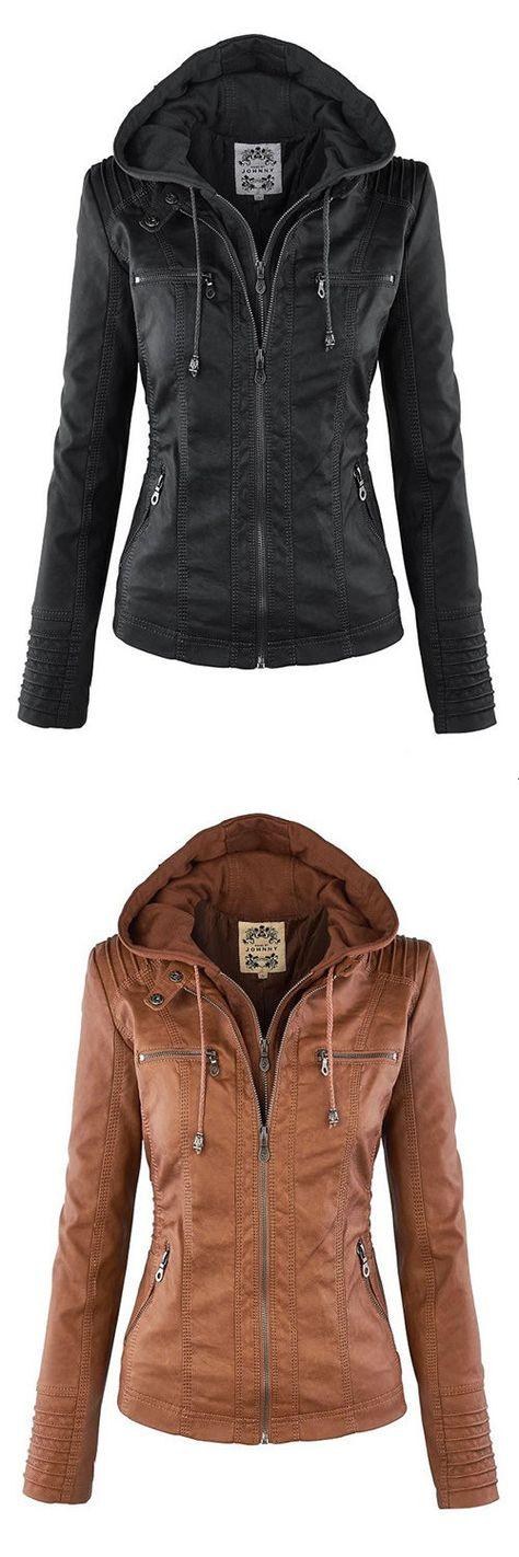 Fashion Zipped Jacket With Removable Hood