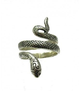 Long sterling silver ring Snake solid 925 R001643 Empress