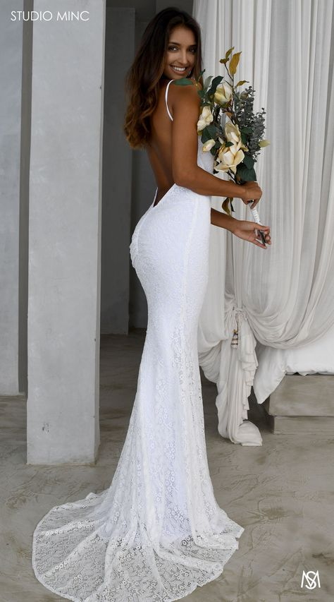 White Daring – STUDIO MINC - Rouched bottom, completely backless, and fitted fishtail.