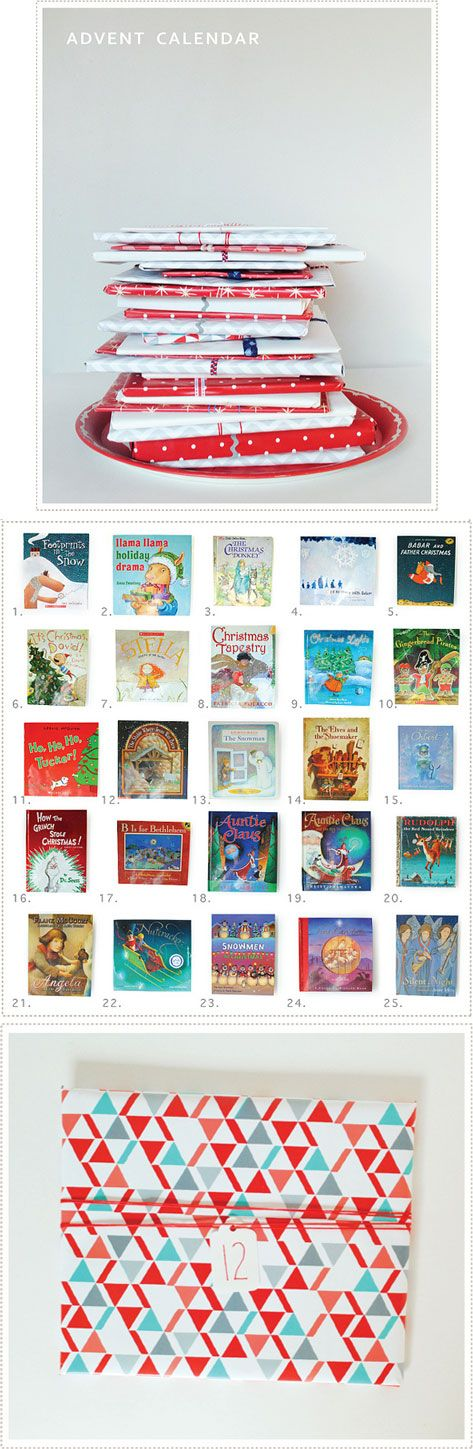 Advent Calendar Inspiration - Using books as the gift, such a clever idea for kids.
