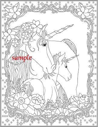 Unicorn Family Single Colour Pdf Cross Stitch Chart Unicorn