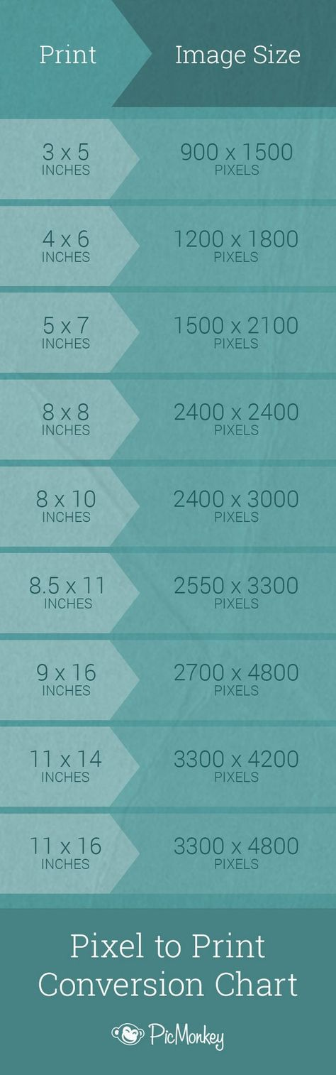 Printing? Keep this inch-to-pixel conversion chart handy for quick reference. - PicMonkey - Google+