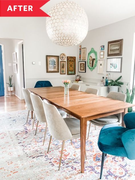 """When homeowner Tracy Bennett moved into her 1977 home, she loved its build and bones, but she was ready to start fresh with all new furniture. """"We wanted to immediately make it our own with style, the feeling of home, mid-century modern furniture, color, and plants."""""""