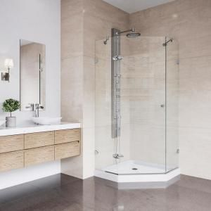 Vigo Gemini 40 In X 73 375 In Frameless Neo Angle Hinged Corner Shower Enclosure In Chrome And Clear Glass Vg6063chcl42 The Home Depot Frameless Shower Enclosures Corner Shower Kits Neo Angle Shower