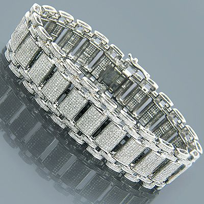 14KY Gold White 1 Ct Tw Polished Men S Diamond Bracelet