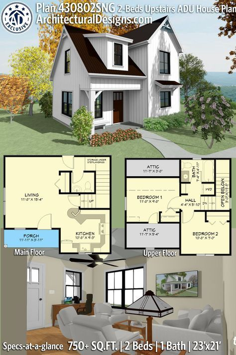 Plan 430802sng Exclusive Two Story House Plan With Upstairs Bedrooms Guest House Plans Craftsman House Plans Sims House Plans