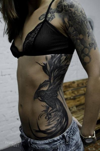Party Phoenix tattoo on Proskura Art Side Body Tattoos, Side Stomach Tattoos, Side Piece Tattoos, Lower Belly Tattoos, Stomach Tattoos Women, Side Tattoos Women, Pieces Tattoo, Full Body Tattoo, Leg Tattoos