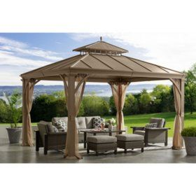 Backyard Discovery 12 X 10 Brookdale Gazebo With Electric Sam S Club Hardtop Gazebo Outdoor Gazebos Backyard Gazebo