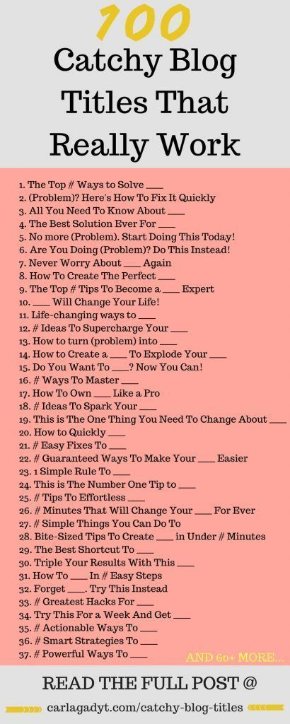 100 Catchy Blog Titles That Really Work - Carla Gadyt - Social Media Marketing