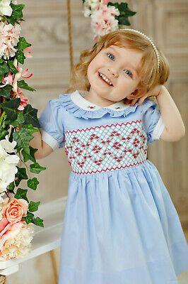 "Embroidered Dress Aurora Royal White /"" Ornella /"" Hand-Smocked"