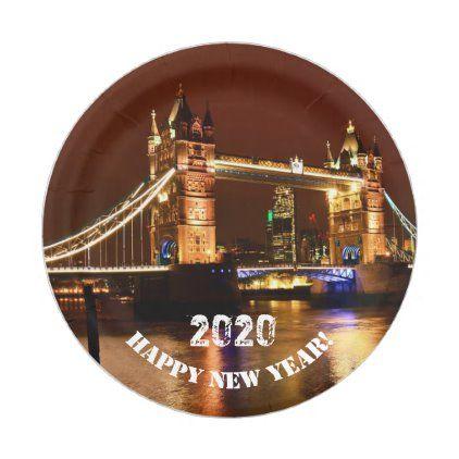London New Year 2020 Tower Bridge Uk Party Paper Plate Zazzle Com Paper Plates Party Uk Parties Party Paper