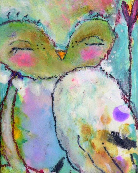 Owl Art Print- With Faith She Sends Her inch Print of a Reproduction of the Original Mixed Media Painting by Juliette Crane