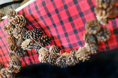 PINECONE GARLAND from this Little Lumberjack themed 2nd birthday party with SUCH CUTE IDEAS via Kara's Party Ideas Kara Allen KarasPartyIdeas.com #lumberjackparty #cam...