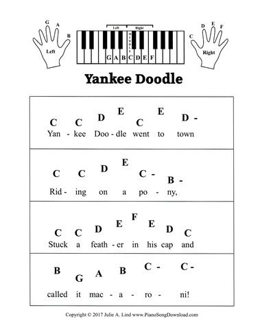 Yankee Doodle, pre staff piano sheet music with letters  A great