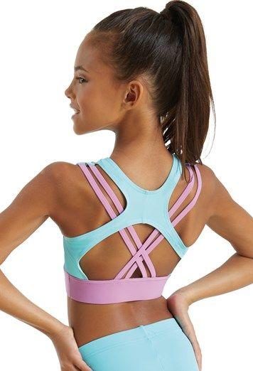 Bauchfreies Top Kinder Lycra Nylon für Tanz Gymnastik Sport Active Wear