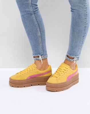 huge selection of d18f9 7d579 Puma X Fenty Suede Creepers In Yellow & Pink | Stylin' in ...